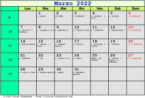 Calendario da stampare - Marzo 2022