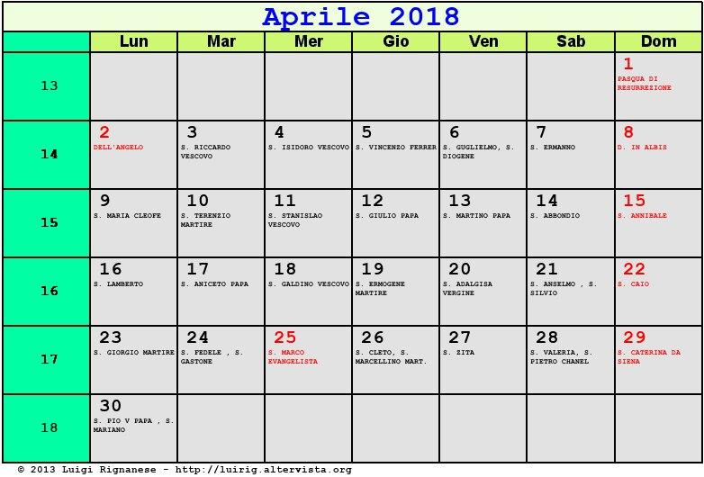 Calendario Aprile 2018 Con Festivita.Calendario Aprile 2018 Con Santi E Fasi Lunari Pasqua