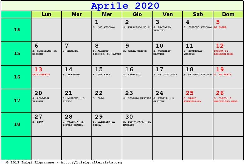 Calendario Festivi 2020.Calendario 2020 Pasqua Calendario 2020