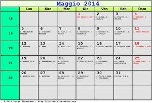 Calendario da stampare - Maggio 2014
