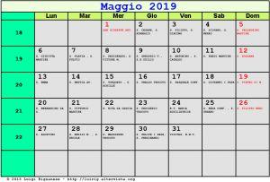 Calendario da stampare - Maggio 2019