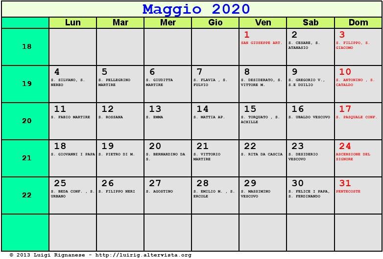 Calendario Mese Di Maggio 2020.Calendario Maggio 2020 Con Santi E Fasi Lunari