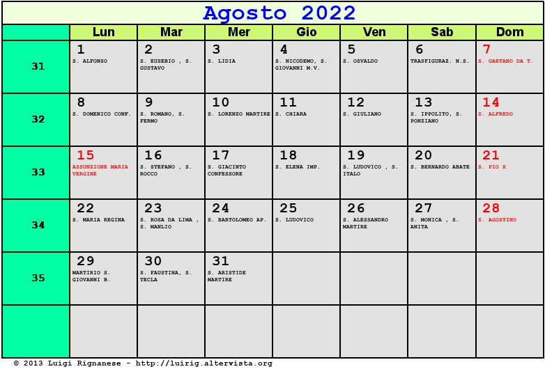 Calendario 2014 da stampare. Calendario 2014 gratis in PDF