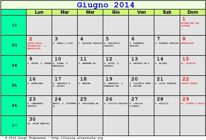 Calendario Anno 2014.Calendario Giugno 2014 Con Santi E Fasi Lunari Corpus
