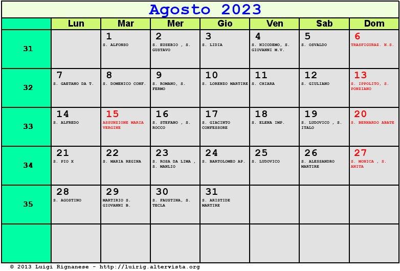 Calendario da stampare - Luglio 2017