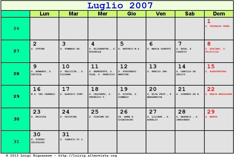 Calendario Luglio 2007.Calendario Luglio 2007 Con Santi E Fasi Lunari