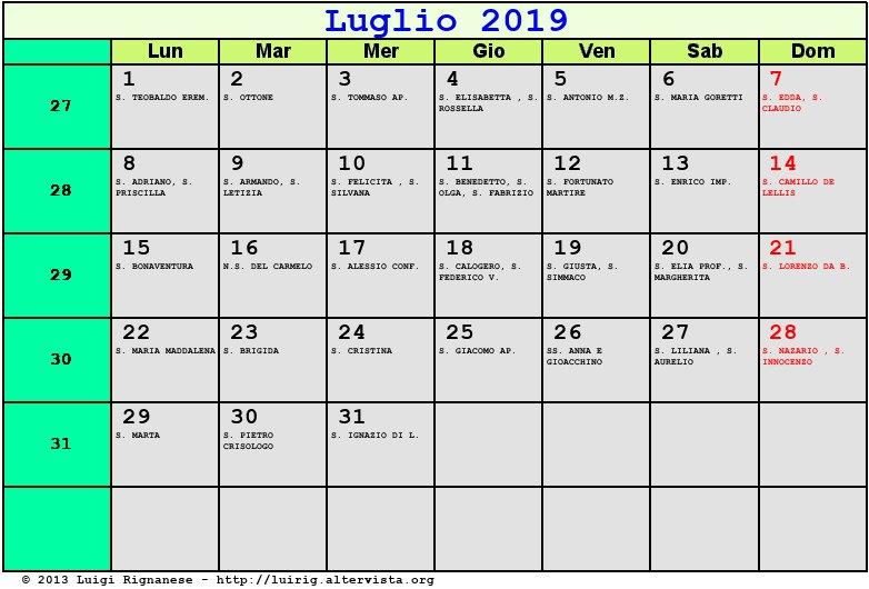 Calendario Mese Di Luglio 2019 Da Stampare.Calendario Luglio 2019 Con Santi E Fasi Lunari