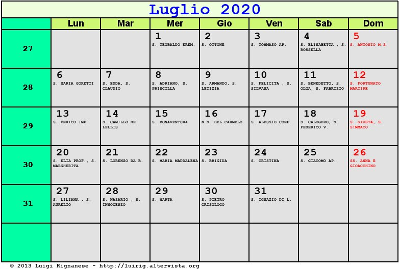 Calendario 2020 Luglio E Agosto