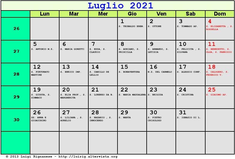 Calendario Luglio 2021   Con santi e fasi lunari