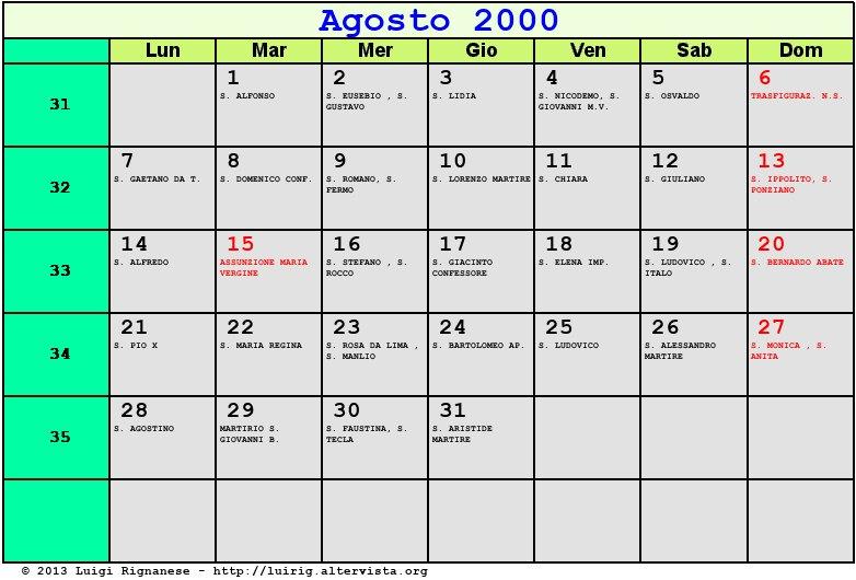 Calendario Del 2000.Calendario Agosto 2000 Con Santi E Fasi Lunari