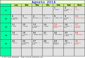 Calendario da stampare - Agosto 2014