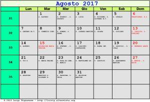 Calendario da stampare - Agosto 2017