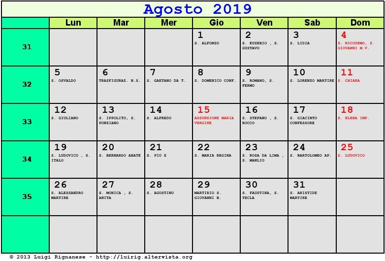 Pagina Calendario Agosto 2019.Calendario Agosto 2019 Con Santi E Fasi Lunari