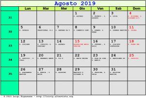 Calendario da stampare - Agosto 2019