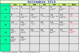 Calendario da stampare - Settembre 2014