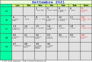 Calendario da stampare - Settembre 2021