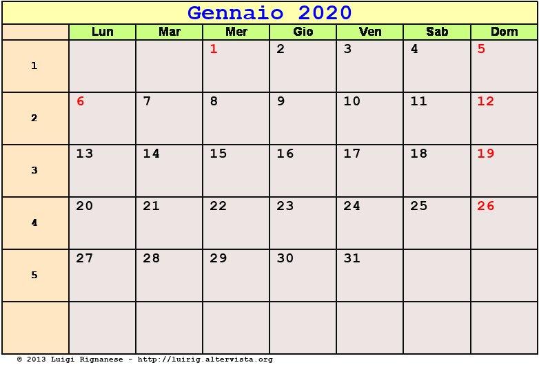 Calendario Gennaio 2020 Da Stampare.Calendario Gennaio 2020 Pdf Capodanno Epifania