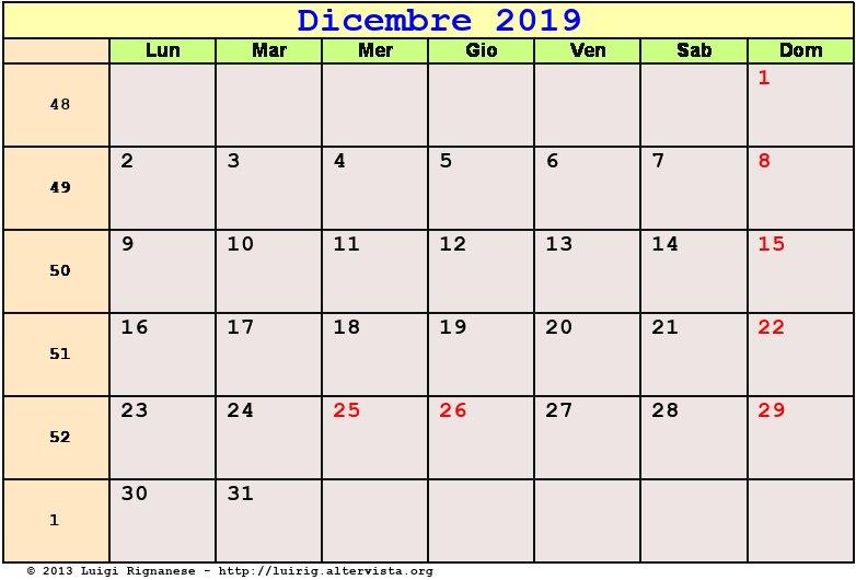 Calendario Dicembre 2019 Stampabile.Calendario Dicembre 2019 Pdf Avvento Natale Solstizio D