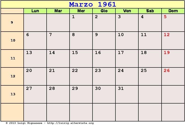 Calendario Del 1961.Calendario Marzo 1961 Pdf Quaresima Le Palme Eclisse Di