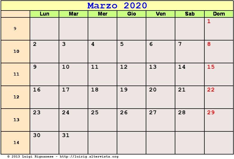 Calendario Marzo 2020.Calendario Marzo 2020 Pdf Quaresima Equinozio Di