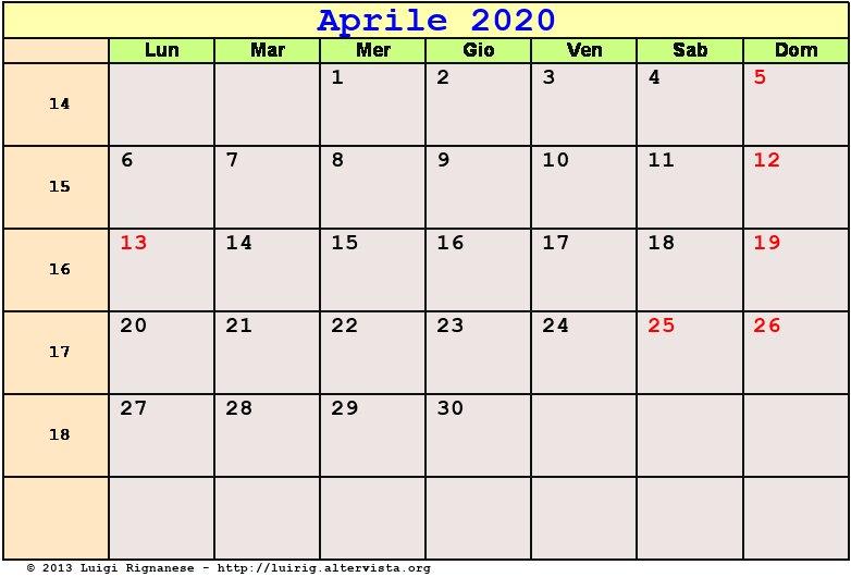 Calendario Mese Aprile 2020.Calendario Aprile 2020 Pdf Le Palme Data Di Pasqua Festa