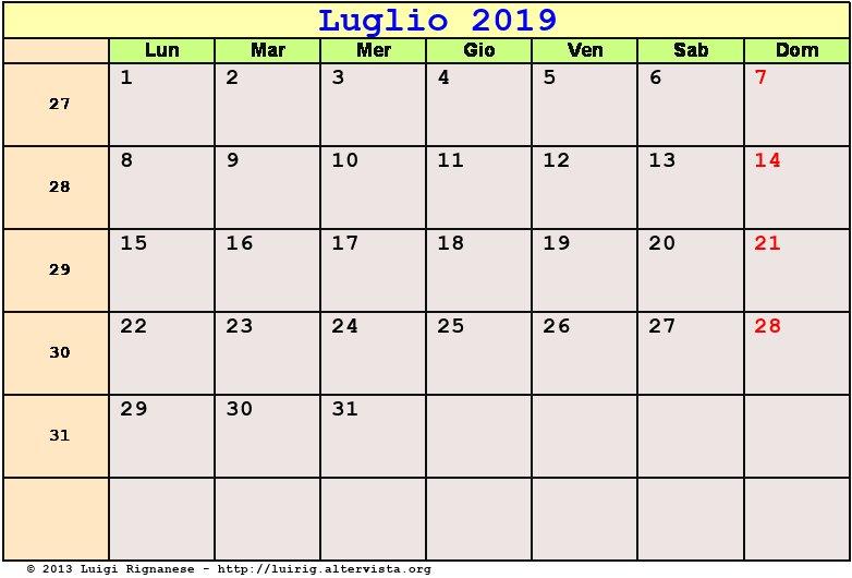 Calendario Mese Di Luglio 2019 Da Stampare.Calendario Luglio 2019 Pdf Solleone Sciame Meteoritico