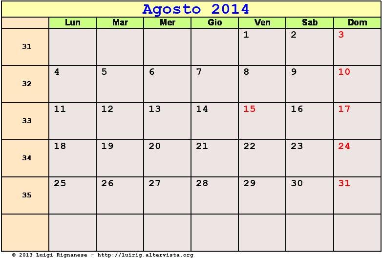 Calendario Agosto 2014 PDF - Ferragosto, Festa dell ...