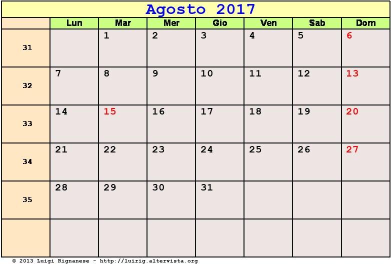 calendario agosto 2017 pdf ferragosto festa dell