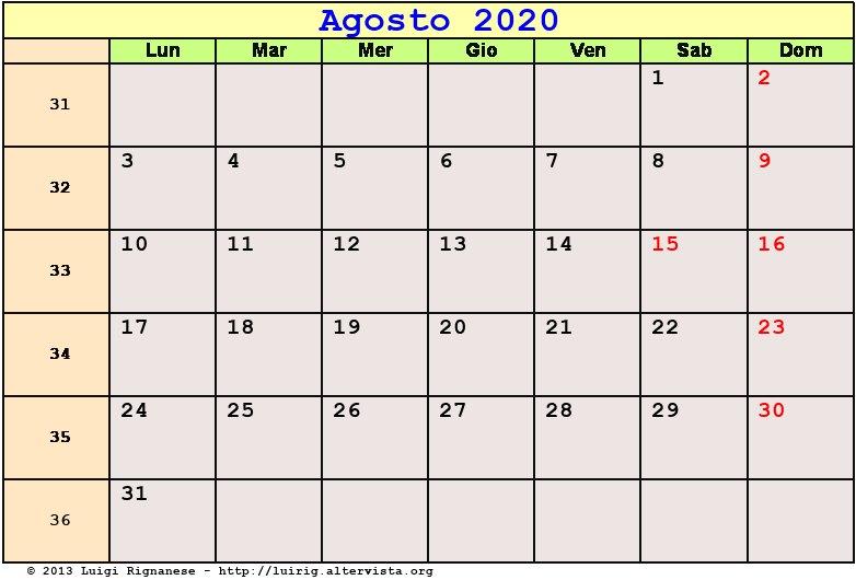 Calendario 2020 Mensile Da Stampare Gratis.Calendario Agosto 2020 Pdf Ferragosto Festa Dell Assunta