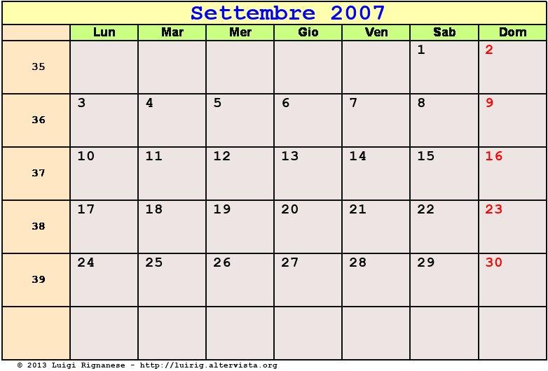 Calendario Settembre 2007.Calendario Settembre 2007 Pdf Equinozio Di Autunno