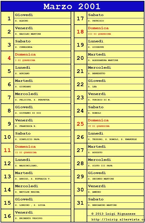 Calendario 2001.Calendario Marzo 2001 Con Santi E Fasi Lunari Quaresima