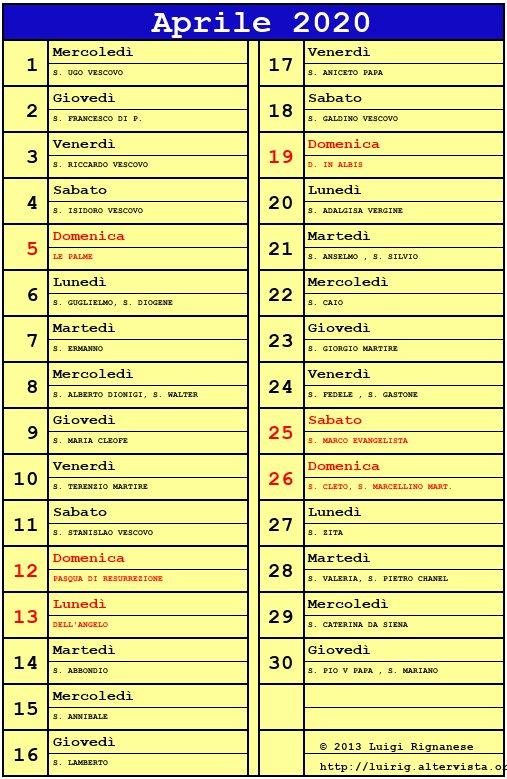 Calendario Trattamenti Olivo Biologico.Calendario Aprile 2020 Con Santi Calendario 2020