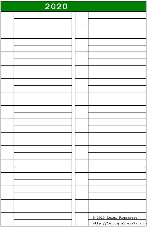 Calendario 2020 Orizzontale.Calendario 2020 Pdf