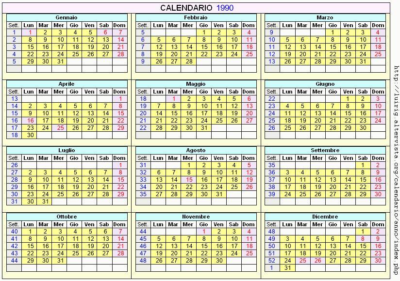 Calendario stampabile - 1990