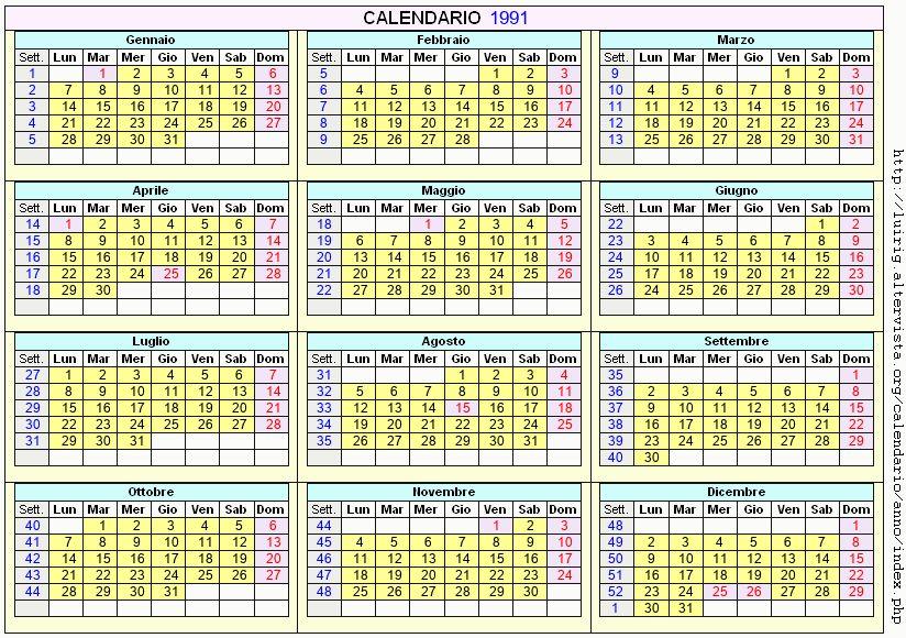 Calendario stampabile - 1991