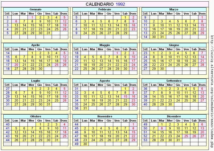 Calendario stampabile - 1992