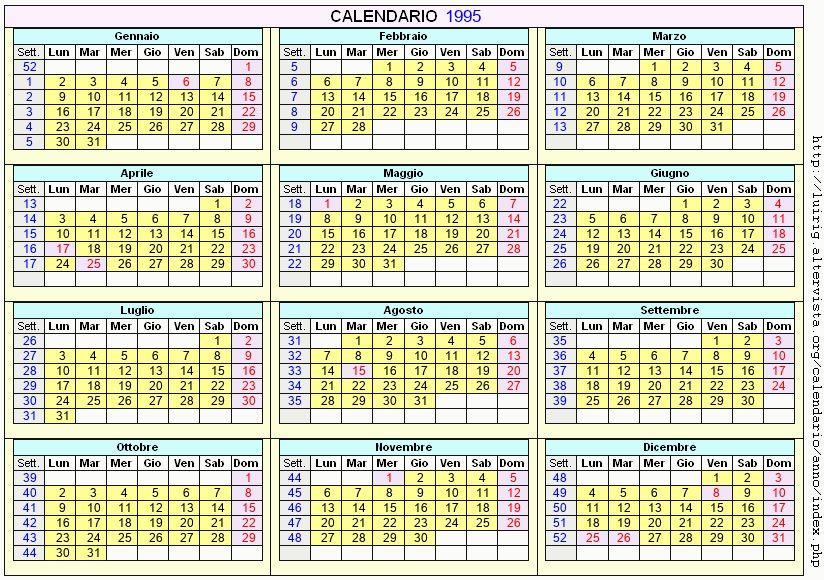 Calendario stampabile - 1995