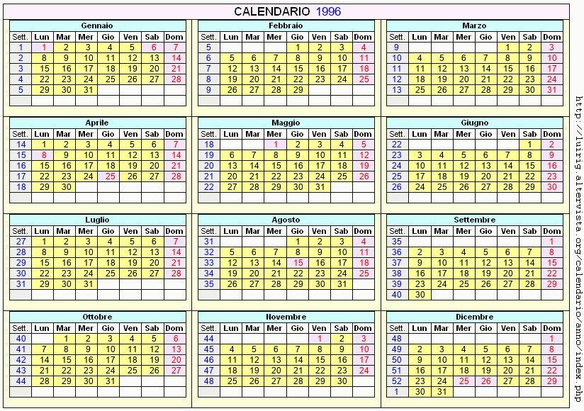 Calendario stampabile - 1996
