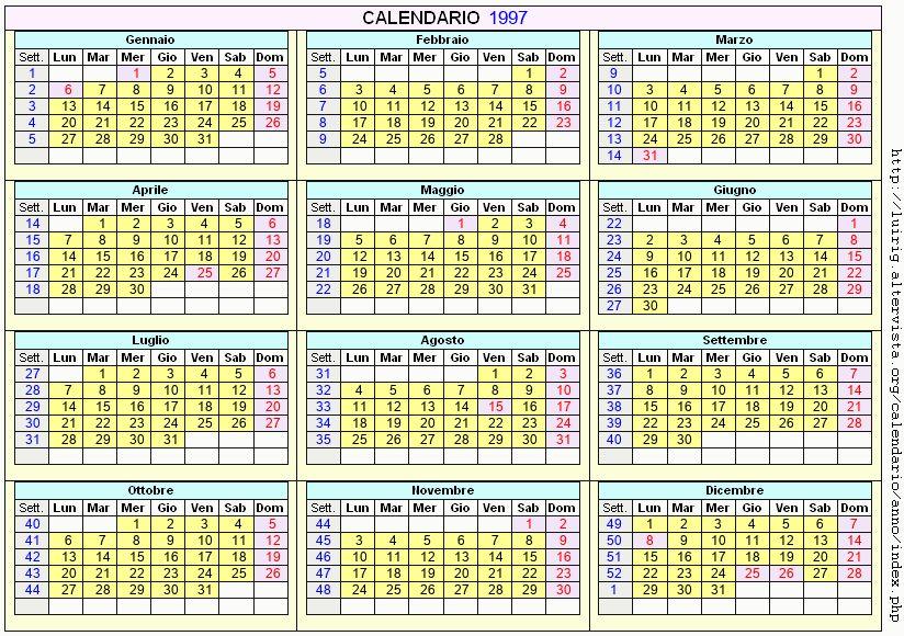Calendario stampabile - 1997
