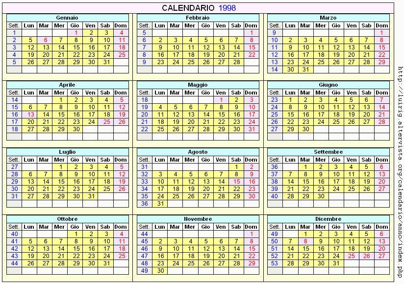 Calendario stampabile - 1998