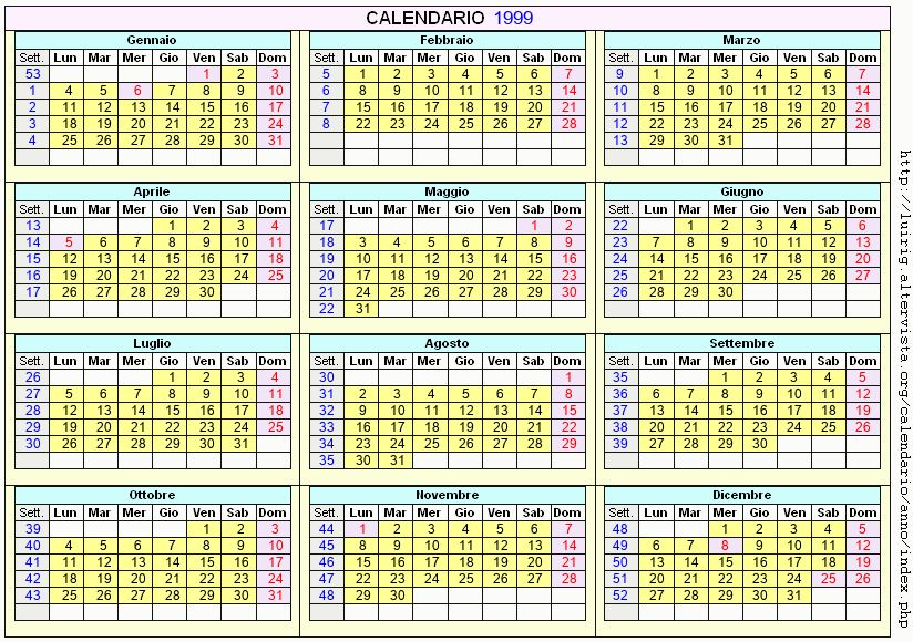 Calendario stampabile - 1999