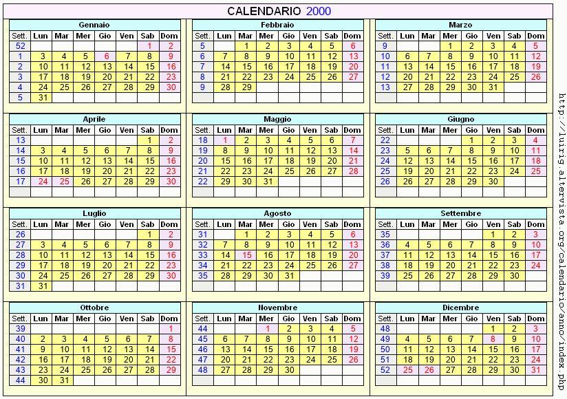 Calendario stampabile - 2000