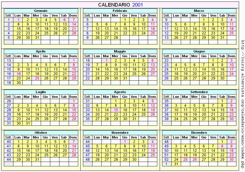 Calendario stampabile - 2001