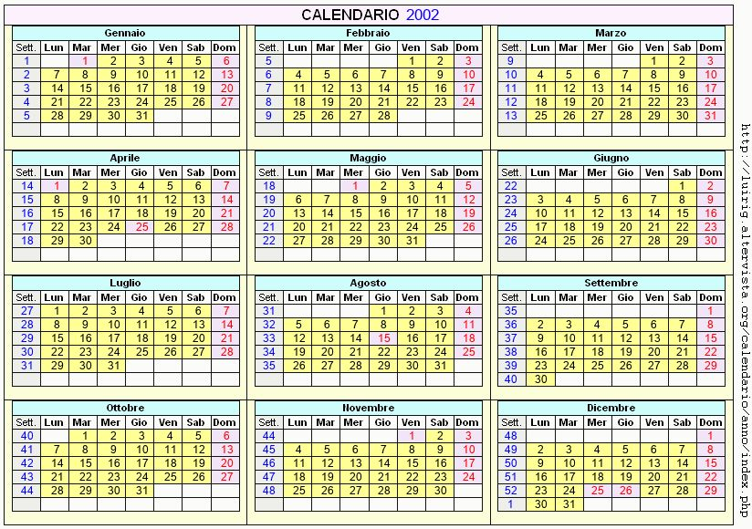 Calendario stampabile - 2002