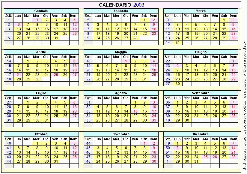 Calendario stampabile - 2003