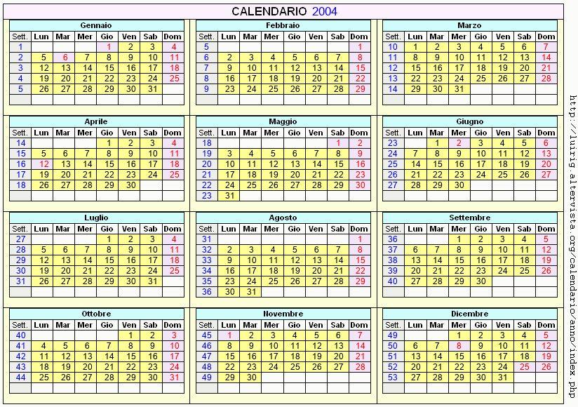 Calendario stampabile - 2004