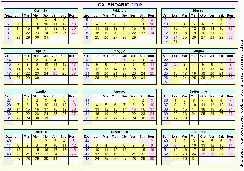 Calendario stampabile - 2008