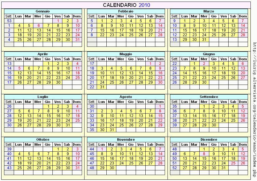 Calendario stampabile - 2010