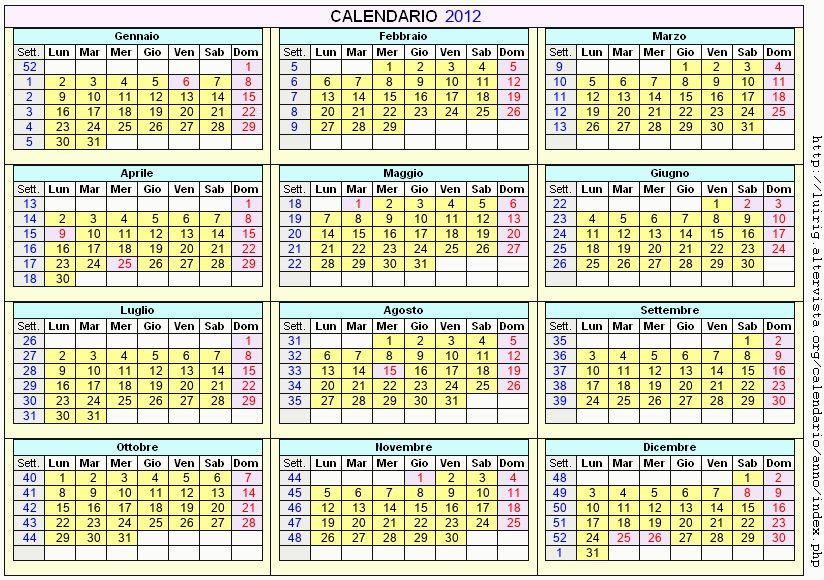 Calendario stampabile - 2012
