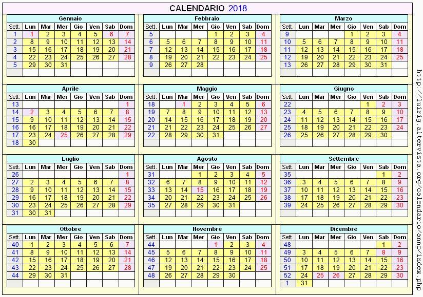 Calendario stampabile - 2018